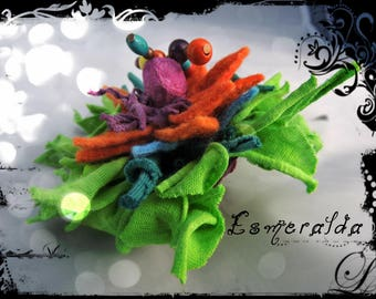 SOLD - Brooch or bag charm - ESMERALDA fabric, leather, felt wool, silk cocoon and beads in assorted colors