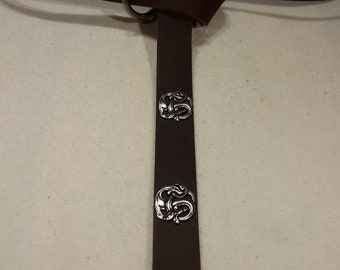 Middle Ages-belt ring-belts chocolate-Brown 166 cm 4 dragon-Rivets 100% full-cowhide leather LARP role Play