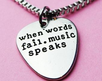 Boyfriend gift, Pick Necklace, Gift for men, for him, Boyfriend Pendant, Guitar pick, Guitarist gift, Music pendant words fail