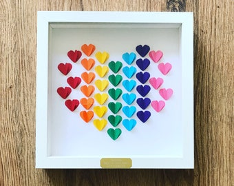 Framed Personalised 3D Rainbow Confetti Hearts - 1st Wedding/ Anniversary/ Engagement/ Wedding Gift