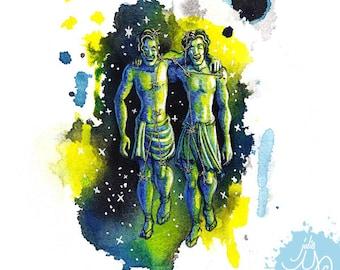 Gemini- The Twins- Mixed Media Fabric Illustration- Framed Original