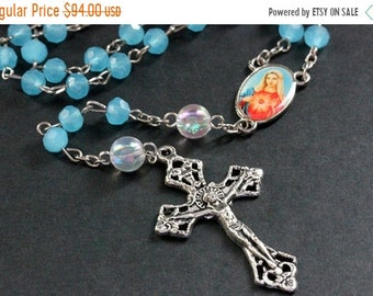 MOTHERS DAY SALE Turquoise Blue Crystal Catholic Rosary in Silver. Crystal Rosary. Turquoise Rosary. Blue Rosary. Handmade Rosary.
