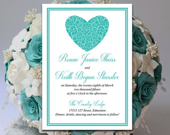 "Heart Wedding Invitation Template Download - Teal Invitation Card Printable ""Swirled Heart"" DIY Wedding - Heart Wedding Invitation"