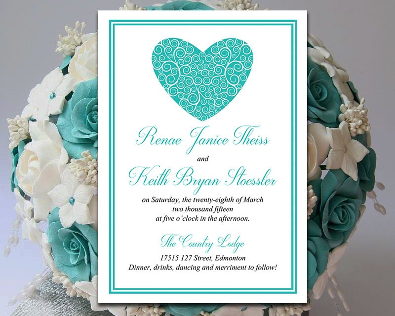 Heart wedding invitation template download teal invitation zoom solutioingenieria Gallery