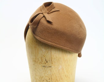 Camel Brown Velour Fur Felt Headband Fascinator Cocktail Winter Headband Hat with Felt Bow- Womens Hat/Millinery/Couture/Kate Middleton