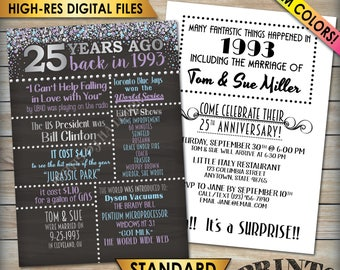 """25th Anniversary Invitation, Married in 1993 Flashback 25 Years Ago 1993 Invite, Chalkboard Style PRITNABLE 5x7"""" 25th Anniversary Invite"""