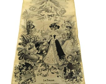 Antique Stevengraph Silk Weaving. 1900 Paris Exposition Souvenir. Paix & Travail. Romantic French Fabric Art Wall Hanging Panel.