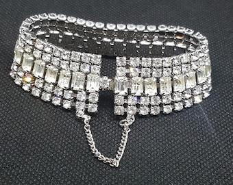 60s Vintage Crystal Glamour Cuff Bracelet