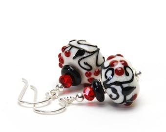 Black and Red Lampwork Glass Earrings with Black Vines and Red Berries on Ivory - Sterling Silver Earwires - Handmade Jewelry