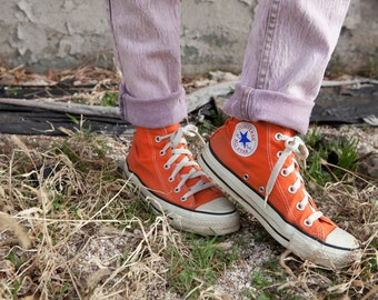Vintage Converse Hi Top Sneakers // Made in USA // Vintage Chuck Taylor Sneakers // Orange // USM 5 // USW 7 // 80s 90s