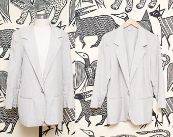 Tan Blazer Jacket // Minimalist Khaki Suit Coat // 80s Fundamental Things Basic Collared Single Button Jacket Size Medium
