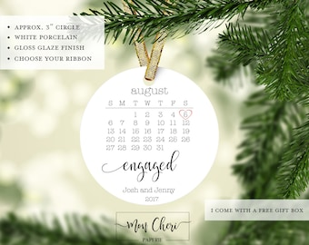 Engaged Announcement Ornament | Engagement Gift | Custom Ornament | Christmas Ornament | Couples Ornament | We're Engaged Christmas Ornament