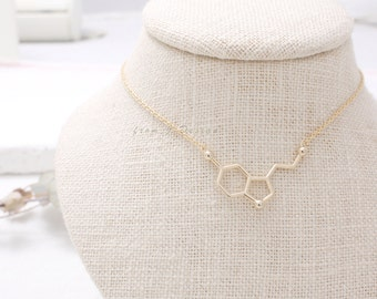 Serotonin Molecule Structure Chemical Compound Structure Pendant Necklace