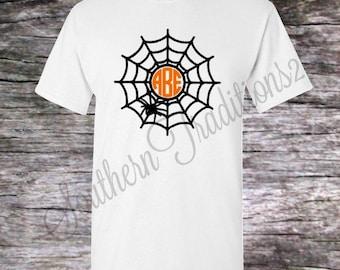 Monogram Halloween Shirt - Halloween Shirt - Spider Web Tshirt - Ladies Halloween Tee