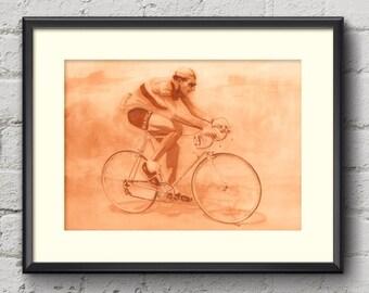 Fausto Coppi Tour de France 1949 Fine Art Cycling Print