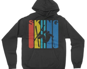 Retro 1970's Style Extreme Skier Silhouette Skiing Hoodie