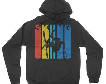 Retro 1970's Style Extreme Skier Silhouette Skiing Hoodie