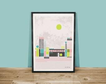 Factory Life Art Print / Abstract Cityscape Print / A4 Art Print / Abstract Wall Art / Factory Illustration / City Art Print
