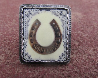 Good Luck Horseshoe Cocktail Ring Sterling Silver and Shrink Plastic Equestrian Jewelry Horse Shoe