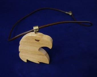 cherry wood and brown leather Eagle pendant