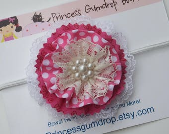 Fabric Flower Headband in Pink and White Polka Dots, Flower Baby Headband, Flower Girls Headband, Toddler Headband, Flower Headband