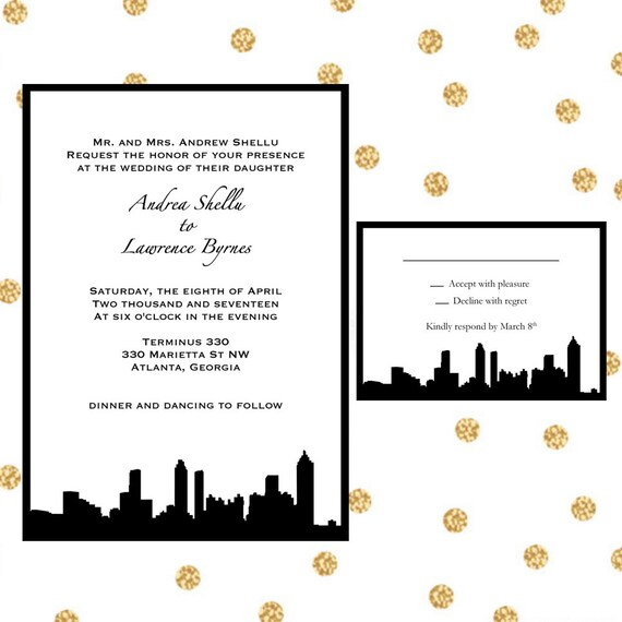 Atlanta Skyline Wedding Invitations Atlanta Georgia