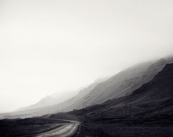 "Black and White Photography, Wanderlust Gift for Him, Landscape Photography, Iceland Print, Mountain Road, Explorer ""Less Traveled"""