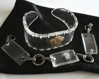 two vintage lucite and sterling bracelets with sorority or school emblems