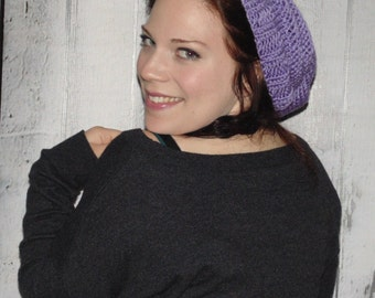 Lavender Hat, Woman's Slouchy Beanie Hat, Winter Hat