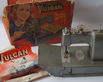 Vulcan Child's Vintage Sewing Machine, 1950s Toy Sewing Machine