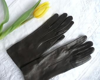 Brown leather gloves - Miloré leather gloves - soft leather gloves - size 6 1/4 leather gloves