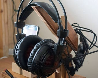 ONLY ONE AVAILABLE Handmade Reclaimed Wood Angled Headphone Stand, Oversized Base