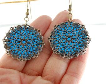 Blue Bohemian Earrings, Gypsy Earrings, Blue Boho Dangle Earrings, Antique earings, Ethnic earrings, Hippie jewelry, handmade earrings