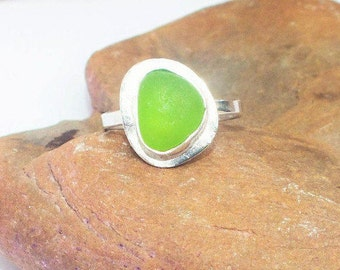 Sea Glass Ring, Sterling Seaglass Ring, US 6.75 Sterling Ring, Lake Jewelry, Sea Glass Jewelry, Lake Erie Jewelry, Lake Bottle Ring