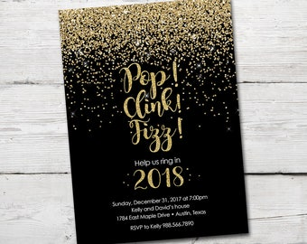 New Years Eve Invitation, New Years Eve, New Years Party Invitation, New Years Party Invite, New Years Party, New Year's Party Invites