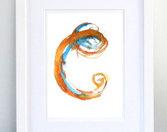 Print, Art Print, Wall Decor, Wall Art, Illustration Print, Orange Ink Drawing, Letter C, print 8x11.5 inch (21x29.5 cm)
