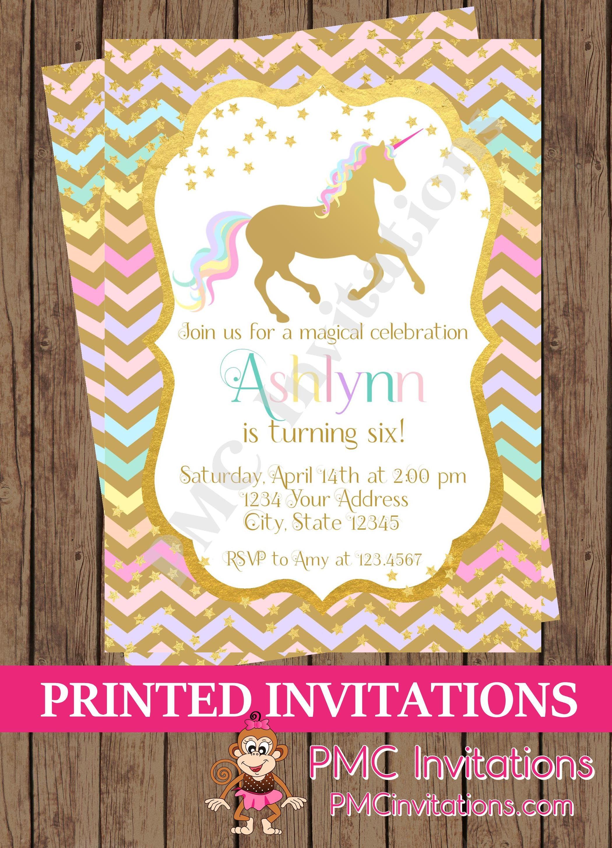Custom PRINTED Unicorn Birthday Invitation Unicorn Silhouette