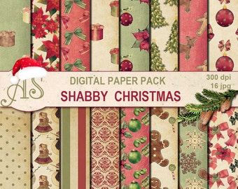 Digital Shabby Chic Christmas Pack, 16 printable Digital Scrapbooking papers, vintage new year, decoupage, Instant Download, set 250