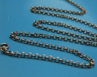 Oxidized Sterling Silver Chain, 2.5mm rolo rollo chain, Made in Italy, Finished For Pendant (24 inches)