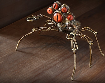 Steampunk Pseudo-scorpion Modron Robot Sculpture with Orange eyes
