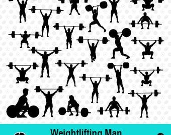 Weightliftingh Men SVG, Weightliftingh Men Silhouette, Weightliftingh Clipart, Sport SVG, Sport Scrapbook, Vector Files, dxf Files, MSD-010