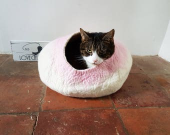 Larger Cat Bed Cat Cave Cat House in White and Pink Felted - Free Cat Ball