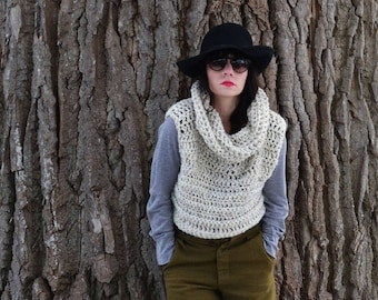 Cowl Neck Sweater Vest / White Winter Sweater / Layering Knitwear / Knit Sweater / Knit Cowlneck Sweater for Women/ Super Thick Warm Vest