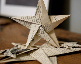 Paper star decorations: first wedding anniversary gift, hand-folded origami, up-cycled, vintage paper decorations, upcycled gift