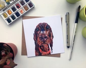 Red Setter, Setter card, red setter card, red setter gift, dog owner card, dog lover, dog present, dog drawing, made by harriet, Setter,