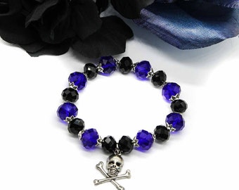 Skull and Crossbones Charm Bracelet with Czech Crystal Beads