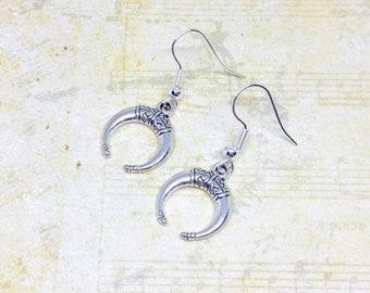 Double Horn Earrings, Crescent Moon Earrings, Tribal Earrings, Silver Tribal Jewellery, Charm Jewelry, Cute Earrings, Cute Gift, BFF Gift