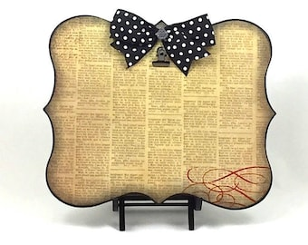 Yellow and Black Frame / Photo Clip Board / Newspaper Print / Polka Dot Bow / Gift for Journalist / Decorative Frame / 5x7 Photo Frame