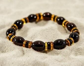 Amber bracelet, cherry elliptical and cognac gasket natural amber bead bracelet 4855