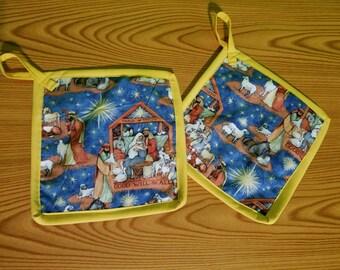 Nativity Set of 2 Potholders